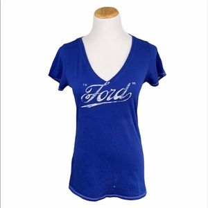 Lucky Brand Blue Ford Motor Company V-Neck Tee
